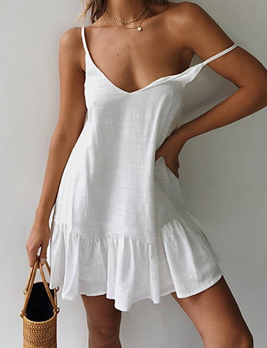 cheap White Dresses-Women's A Line Dress - Sleeveless Solid Color Summer Street chic 2020 White Yellow S M L XL
