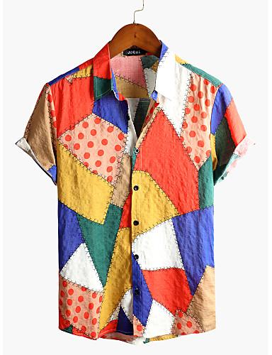 abordables Camisas de Hombre-Hombre Tribal Camisa Básico Boho Diario Playa Blanco