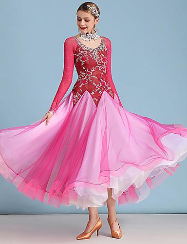 cheap Ballroom Dancewear-Ballroom Dance Dress Split Joint Crystals / Rhinestones Women's Training Performance Long Sleeve Lace Organza