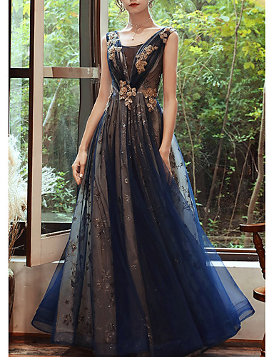 cheap Evening Dresses-A-Line Glittering Wedding Guest Formal Evening Dress Scoop Neck Sleeveless Floor Length Organza with Sequin 2020