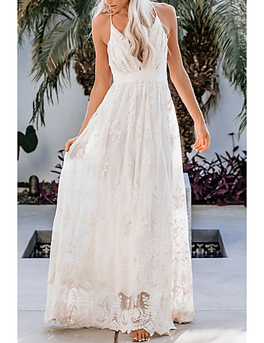 זול שמלות מקסי-בגדי ריקוד נשים נדן שמלה - ללא שרוולים צבע אחיד קיץ אלגנטית 2020 לבן כחול בהיר S M L XL