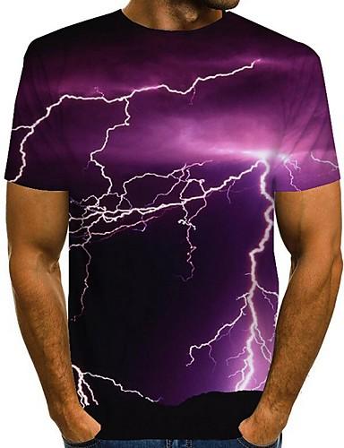 저렴한 남성 티셔츠&탱크 탑-남성용 그래픽 풍경 티셔츠 일상 와인 / 푸른 / 퍼플 / 루비 / 네이비 블루 / 네이비 블루