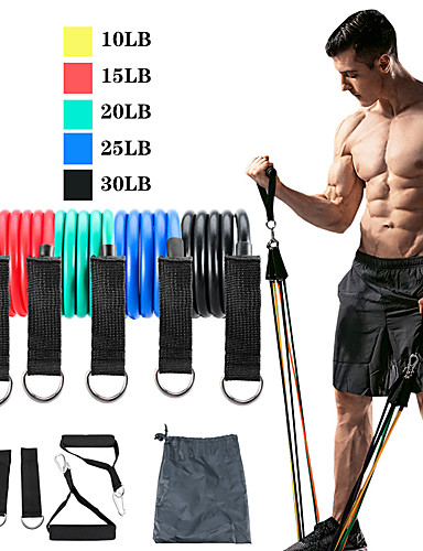 cheap Exercise, Fitness & Yoga-Resistance Band Set Exercise Resistance Bands 11 pcs 5 Stackable Exercise Bands Door Anchor Legs Ankle Straps Sports TPE Home Workout Pilates CrossFit Heavy-duty Carabiner Strength Training Muscular