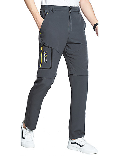 cheap Hiking Trousers & Shorts-Men's Hiking Pants Convertible Pants / Zip Off Pants Solid Color Summer Outdoor Waterproof Breathable Quick Dry Stretchy Elastane Pants / Trousers Bottoms Dark Grey Black Khaki Hunting Fishing