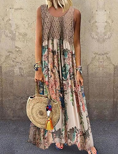 povoljno Floral Patterns Dresses-Žene Maks haljina - Bez rukávů Cvjetni print Print Ljeto Za odmor 2020 Bež S M L XL XXL XXXL XXXXL XXXXXL