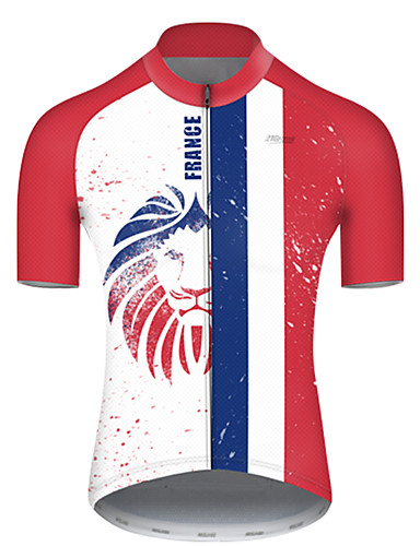 cheap Cycling Jerseys-21Grams Men's Short Sleeve Cycling Jersey Nylon Polyester Red / White Lion France National Flag Bike Jersey Top Mountain Bike MTB Road Bike Cycling Breathable Quick Dry Ultraviolet Resistant Sports