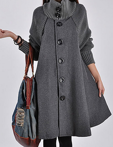 cheap Women's Coats & Trench Coats-Women's Single Breasted Turtleneck Fall Coat Long Solid Colored Daily Patchwork Black Red Gray M L XL / Winter