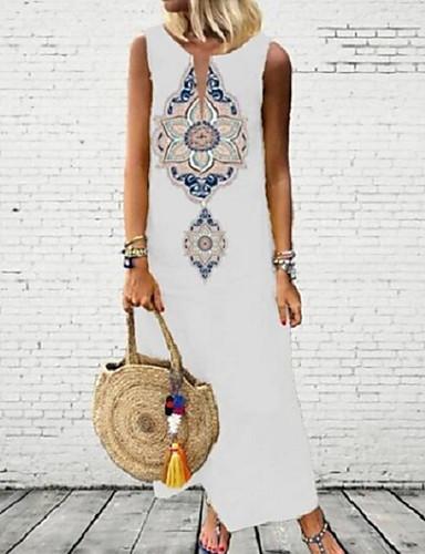 저렴한 신상 드레스-여성용 A 라인 드레스 맥시 드레스 - 민소매 프린트 여름 캐쥬얼 무무 2020 화이트 블랙 푸른 옐로우 그레이 S M L XL XXL XXXL XXXXL XXXXXL