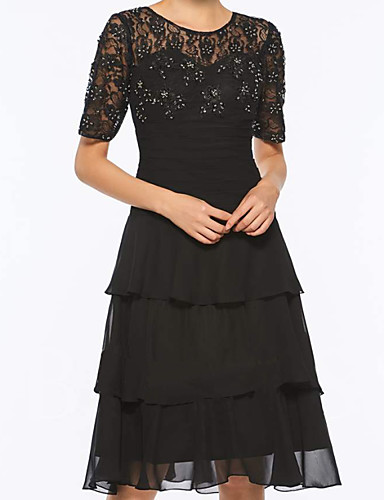 cheap Mother of the Bride Dresses-A-Line Mother of the Bride Dress Elegant Jewel Neck Knee Length Chiffon Lace Short Sleeve with Embroidery Cascading Ruffles 2020