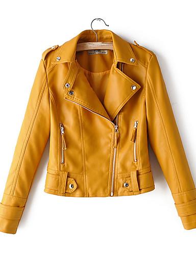 저렴한 여성 아웃웨어-여성용 일상 짧은 자켓, 솔리드 노치 라펠 긴 소매 폴리에스테르 옐로우 / 블러슁 핑크 / 루비