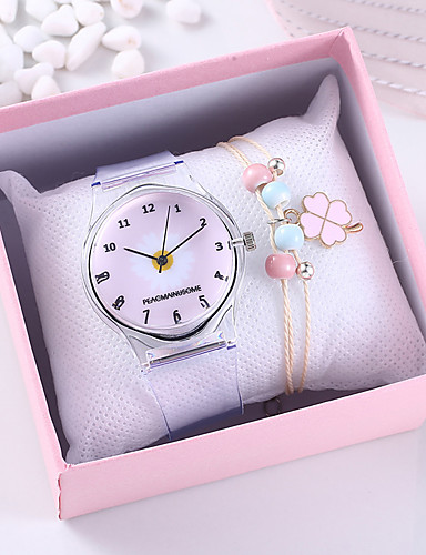 cheap Floral Watches-Women's Quartz Watches Flower New Arrival Grey Rubber Chinese Quartz Black Blue Blushing Pink Chronograph Cute Creative 2 Piece Analog One Year Battery Life