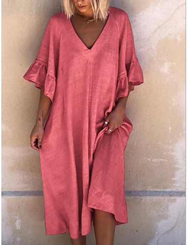 cheap Women's Dresses-Women's A-Line Dress Knee Length Dress - Half Sleeve Solid Color Summer V Neck Casual Mumu 2020 Red Dusty Blue Light Blue S M L XL XXL XXXL