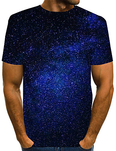cheap Men's Clothing-Men's Graphic 3D Print Space T-shirt Basic Daily Round Neck Blue / Purple / Red / Yellow / Green / Short Sleeve