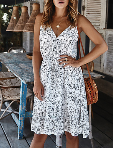 Χαμηλού Κόστους Για νεαρές γυναίκες-Γυναικεία Θήκη Φόρεμα - Αμάνικο Πουά Καλοκαίρι Κομψό 2020 Λευκό Θαλασσί Ανθισμένο Ροζ Τ M L XL