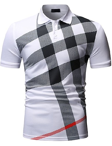 povoljno Muške majice i košulje-Muškarci Polo Karirani uzorak Tops Obala Crn Navy Plava