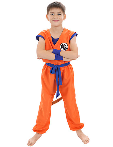 cheap Anime Costumes-Inspired by Dragon Ball Anime Cosplay Costumes Japanese Cosplay Suits Top Pants Waist Belt For Boys' / Wrist Brace