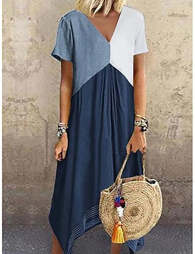 Χαμηλού Κόστους Μακριά Φορέματα-Γυναικεία Μεγάλα Μεγέθη Φόρεμα σε γραμμή Α Μακρύ φόρεμα - Κοντομάνικο Συνδυασμός Χρωμάτων Μπλοκ χρωμάτων Ανοιξη καλοκαίρι Λαιμόκοψη V Causal Διακοπές 2020