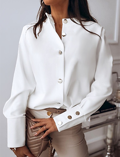 cheap Women's Blouses & Shirts-Women's Daily Shirt Solid Colored Long Sleeve Tops White Black Blushing Pink