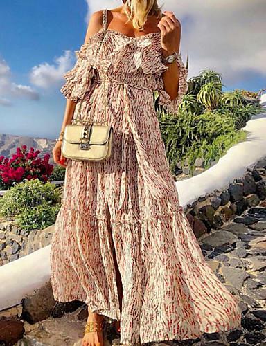 זול שמלות מקסי-בגדי ריקוד נשים נדן שמלה - ללא שרוולים פרחוני קיץ אלגנטית 2020 לבן S M L XL