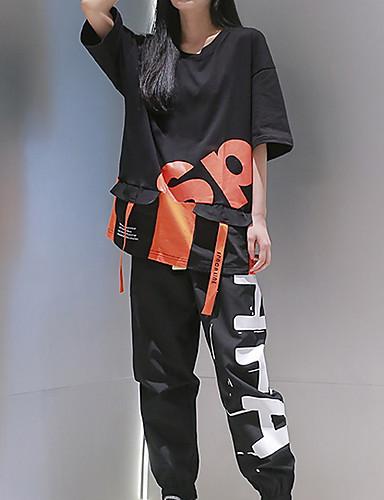 cheap Hip Hop Dancewear-Hip Hop Top Pattern / Print Unisex Performance Daily Wear Half Sleeve Cotton