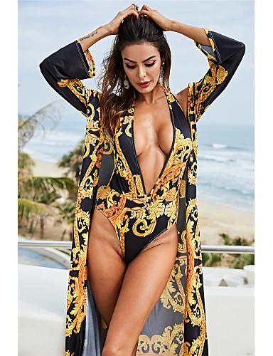 cheap Women's Swimwear-Women's Basic Yellow Halter Cheeky One-piece Swimwear Swimsuit - Tribal Print Breathable M L XL Yellow