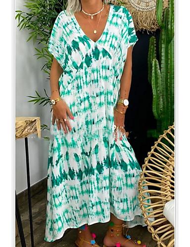 baratos Novidades-Mulheres Shift Dress Vestido no Joelho - Manga Curta Estampado Tie Dye Verão Casual mumu 2020 Vermelho Amarelo Verde Verde Claro S M L XL XXL XXXL