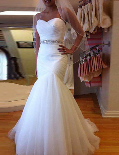 cheap Wedding Dresses-Mermaid / Trumpet Wedding Dresses Sweetheart Neckline Court Train Tulle Strapless Formal Sparkle & Shine with Ruched Crystals 2020