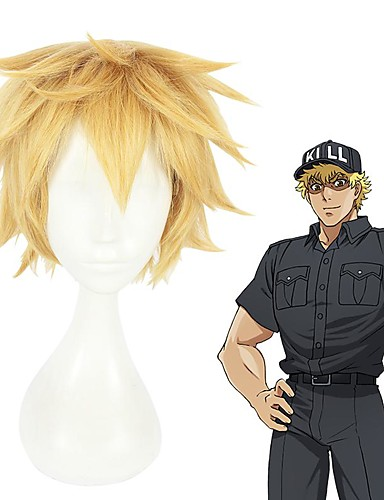 cheap Cosplay Wigs-Cells at Work Cosplay Cosplay Wigs Men's Layered Haircut 8 inch Heat Resistant Fiber Curly Blonde Teen Adults' Anime Wig
