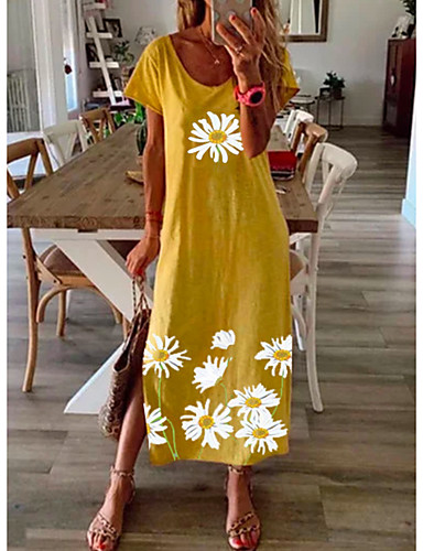 cheap New Arrivals-Women's Shift Dress Daisy Maxi long Dress - Short Sleeves Floral Summer Elegant Loose 2020 Black Blue Yellow Gray S M L XL XXL XXXL