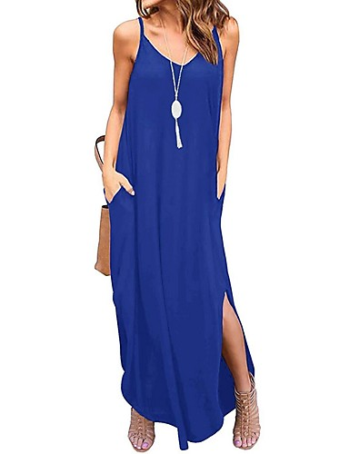 cheap New Arrivals-Women's Maxi Denim Dress - Sleeveless Solid Color Summer Strap Casual 2020 Wine Black Army Green Royal Blue Dark Gray Navy Blue S M L XL XXL
