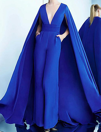 cheap Evening Dresses-Jumpsuits Elegant Engagement Formal Evening Dress V Neck Sleeveless Sweep / Brush Train Satin with Sleek 2020