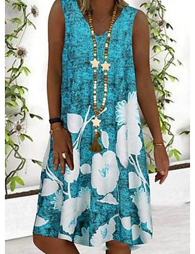hesapli Print Dresses-Kadın's Haljina A-kroja Elbise - Kolsuz Çiçekli Yaz Sokak Şıklığı 2020 Havuz Gri S M L XL XXL XXXL XXXXL XXXXXL