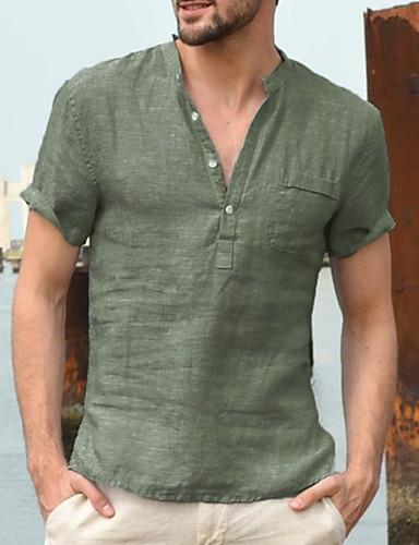 cheap Men's Clothing-Men's Solid Colored T-shirt - Linen Basic Street chic Daily Work V Neck White / Black / Green / Navy Blue / Beige / Gray / Light Blue / Short Sleeve