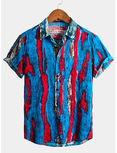 cheap Men's Shirts-Men's Striped Graffiti Shirt - Cotton Tropical Hawaiian Holiday Beach Classic Collar Button Down Collar Royal Blue / Short Sleeve