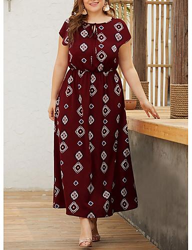 ieftine Colecție Mărime Plus-Pentru femei Linie A Rochie - Mânecă scurtă Geometric Vară Elegant 2020 Roșu Vin Negru Bleumarin XL XXL XXXL