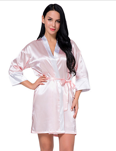 cheap Pajamas & Robes-Women's Round Neck Chemises & Gowns Pajamas Solid Colored