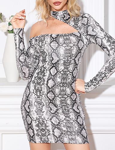 cheap Print Dresses-Women's Bodycon Short Mini Dress - Long Sleeve Leopard Print Zipper Spring Fall One Shoulder Glitters Sexy Going out Club Puff Sleeve Slim 2020 Light gray S M L