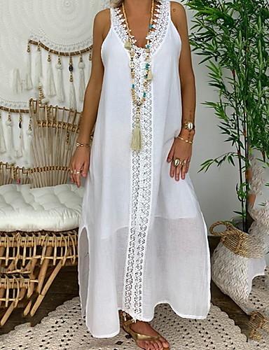 hesapli Maksi Elbiseler-Kadın's Kombinezon Elbise - Kolsuz Tek Renk Yaz Zarif 2020 Beyaz Siyah Doğal Pembe Açık Mavi S M L XL XXL XXXL