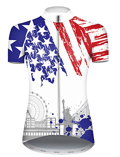 cheap Cycling Jerseys-21Grams Women's Short Sleeve Cycling Jersey Nylon Polyester Blue / White American / USA Statue Of Liberty National Flag Bike Jersey Top Mountain Bike MTB Road Bike Cycling Breathable Quick Dry