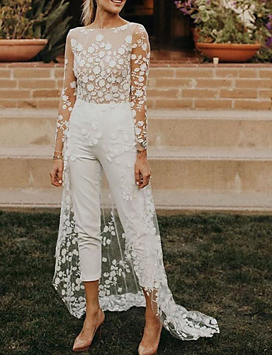 cheap Wedding Dresses-Jumpsuits A-Line Wedding Dresses Jewel Neck Sweep / Brush Train Lace Satin Long Sleeve Sexy See-Through Modern with Embroidery Appliques 2020
