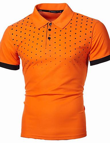 저렴한 남성 폴로-남성용 플러스 사이즈 도트무늬 프린트 Polo 베이직 스트리트 쉬크 일상 작동 셔츠 카라 와인 / 화이트 / 블랙 / 푸른 / 오렌지 / 라이트 그레이 / 다크 그레이 / 네이비 블루 / 짧은 소매
