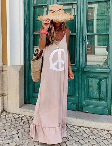 billige Maxikjoler-Dame Skjede Kjole - Ermeløs Trykt mønster Sommer Elegant 2020 Rosa S M L XL XXL