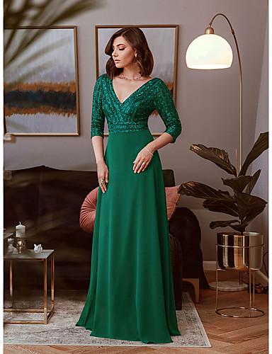 cheap Clearance-Sheath / Column Elegant Vintage Engagement Formal Evening Dress V Neck 3/4 Length Sleeve Floor Length Polyester with Sequin 2020
