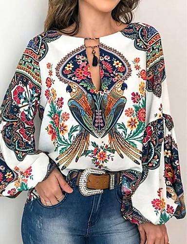 cheap Women's Blouses & Shirts-Women's Shirt Floral Lace up Print Tops Basic White Blue Yellow