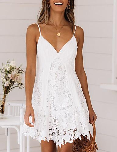 رخيصةأون دانتيل رومانسي-نسائي فستان حمالة فستان ميني - بدون كم دانتيل الصيف V رقبة مثيرة مناسب للعطلات 2020 أبيض S M L XL