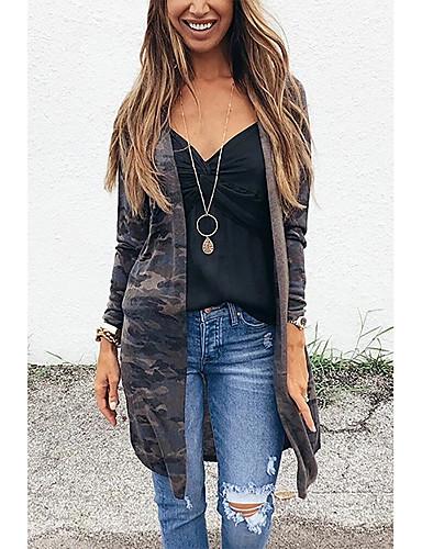 cheap Women's Outerwear-Women's Fur Coat Daily Street chic Long Camo / Camouflage Dark Gray S / M / L