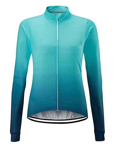 cheap Cycling Jerseys-21Grams Women's Long Sleeve Cycling Jersey Spandex Polyester Blue Orange Gradient Bike Jersey Top Mountain Bike MTB Road Bike Cycling UV Resistant Breathable Quick Dry Sports Clothing Apparel