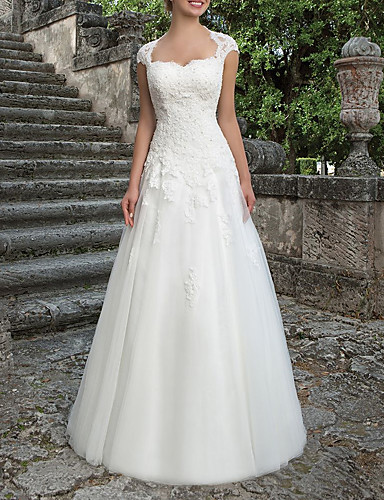 cheap Wedding Dresses-A-Line Wedding Dresses Bateau Neck Sweep / Brush Train Lace Tulle Short Sleeve Country Plus Size with Draping Appliques 2020