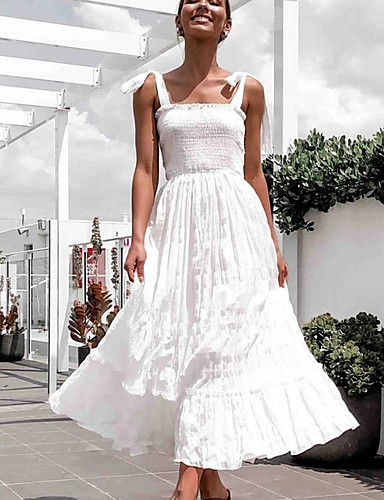 cheap White Dresses-Women's Sheath Dress - Sleeveless Solid Color Summer Elegant 2020 White S M L XL