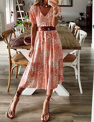 cheap Women's Dresses-Women's A-Line Dress Midi Dress - Short Sleeves Print Summer V Neck Casual Mumu 2020 Blushing Pink S M L XL